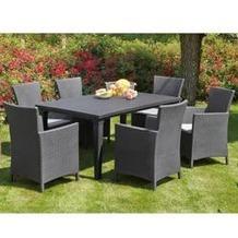 Best 13-tlg. Dining-Sessel Napoli+Tisch Genua graphit/hellgrau Sitzgruppe
