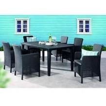 Best 13-tlg. Dining-Sessel Venezia+Tisch Genua graphit/hellgrau Sitzgruppe