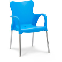 Best 4x Alu-Stapelsessel Maui silber/blau