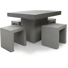 Best 5-tlg. Tischgruppe Rockall Tisch 100x100cm Beton/Glasfaser