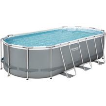 Bestway Power Steel™ Frame Pool Komplett-Set, oval, mit Filterpumpe, Sicherheitsleiter & Abdeckplane 549 x 274 x 122 cm