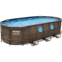 Bestway Power Steel™ Swim Vista Series™ Frame Pool Komplett-Set, oval, mit Filterpumpe, Sicherheitsleiter & Abdeckplane 549 x 274 x 122 cm