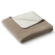 Biederlack Plaid / Decke Duo Co. Melange sand-natur Gekettelter Zierstich 150 x 200 cm