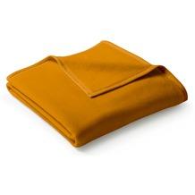 Biederlack Plaid / Decke Uno Cotton curry Veloursband-Einfassung 150 x 200 cm