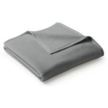 Biederlack Plaid / Decke Uno Cotton graphit Veloursband-Einfassung 150 x 200 cm