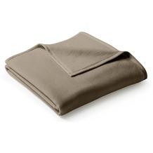 Biederlack Plaid / Decke Uno Cotton haselnuss Veloursband-Einfassung 150 x 200 cm