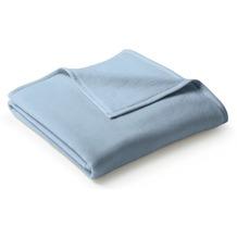 Biederlack Plaid / Decke Uno Cotton hellblau Veloursband-Einfassung 150 x 200 cm
