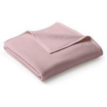 Biederlack Plaid / Decke Uno Cotton rosa Veloursband-Einfassung 150 x 200 cm