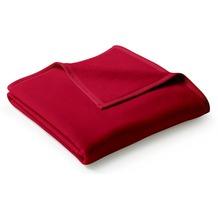 Biederlack Plaid / Decke Uno Cotton samtrot Veloursband-Einfassung 150 x 200 cm