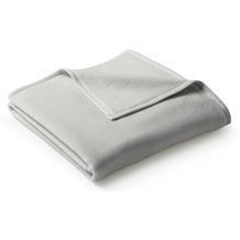 Biederlack Plaid / Decke Uno Cotton silber Veloursband-Einfassung 100 x 150 cm