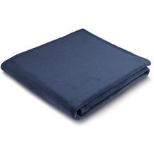 Biederlack Plaid / Decke Uno Soft dunkelblau Veloursband-Einfassung 150 x 200 cm