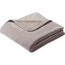 Biederlack Plaid / Decke pure soft taupe schmale Einfassung 150 x 200 cm