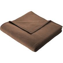 Biederlack Plaid / Decke Uno Soft schoko Veloursband-Einfassung 150 x 200 cm