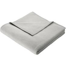 Biederlack Plaid / Decke Uno Soft silber Veloursband-Einfassung 150 x 200 cm
