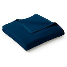 Biederlack Wohndecke Uno Cotton Velourband-Einfassung dunkelblau 150 x 220 cm