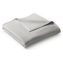 Biederlack Wohndecke Uno Cotton Velourband-Einfassung silber 150 x 220 cm