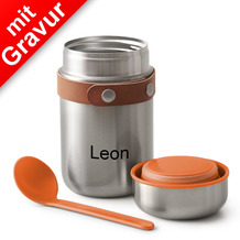 black+blum Food Flask MIT GRAVUR (z.B. Namen) 400ml Edelstahl Orange Maße: 8,5 x 8,5 x 16 cm