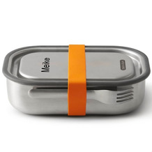 black+blum Lunch-Box groß MIT GRAVUR (z.B. Namen) 1000ml Edelstahl Orange Brotdose
