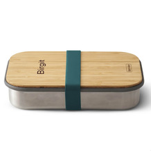 black+blum Sandwich-Box MIT GRAVUR (z.B. Namen) Edelstahl/Bambusholz Ozean Blau Brotdose Maße ca. 22,3 x 15 x 5,2 cm