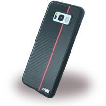 BMW Carbon + Kunstleder Handyhülle - Samsung G955F Galaxy S8 Plus - Schwarz