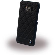 BMW Embossed Hexagon - Echtleder Hard Cover für Samsung G955F Galaxy S8 Plus - Schwarz