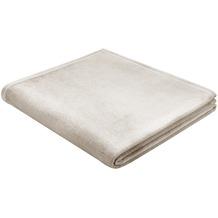Biederlack Plaid / Decke Uno Soft natur Veloursband-Einfassung 150 x 200 cm