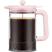 Bodum BEAN Eiskaffeebereiter mit Verriegelungsdeckel und zusätzlichem Deckel, 1.5 l, 12 Tassen strawberry