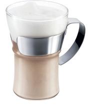 Bodum ASSAM Kaffeeglas mit Metallgriff, 0.35 l glänzend