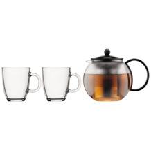 Bodum ASSAM SET Teebereiter mit Edelstahlfilter, 1.0 l, und 2 Stk. Tasse, Glas, 0.35 l schwarz
