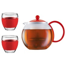 Bodum ASSAM SET Teebereiter mit Kunststoffsieb und Kunststoffdeckel, 1.0 l und 2 Stück Glas, 0.35 l rot