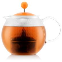 Bodum ASSAM Teebereiter mit Glasgriff und farbigem Kunststoffdeckel, 0,5l, orange