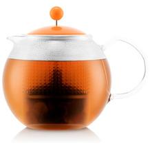 Bodum ASSAM Teebereiter mit Glasgriff und farbigem Kunststoffdeckel, 1,0l, orange