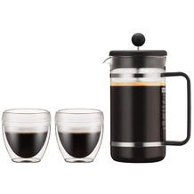 Bodum BISTRO SET Kaffeebereiter, 8 Tassen, 1,0 l, in TRITAN und 2 Stück Pavina Outdoor-Gläser 0,25 l schwarz