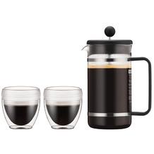 Bodum BISTRO SET Kaffeebereiter, 8 Tassen, 1.0 l mit 2 doppelwandigen 0.25 l PC Bechern schwarz