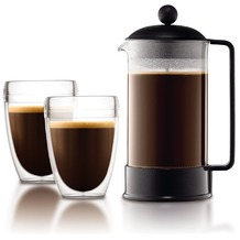 Bodum BRAZIL SET Kaffeebereiter, 8 Tassen, 1.0 l mit 2 doppelwandigen 0.35 l PC Bechern schwarz