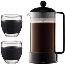 Bodum BRAZIL SET Kaffeebereiter, 8 Tassen, 1.0 l und 2 Stück Glas, 0.35 l schwarz