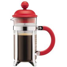 Bodum CAFFETTIERA Kaffeebereiter mit Kunststoffdeckel, 3 Tassen, 0.35 l, Edelstahl rot