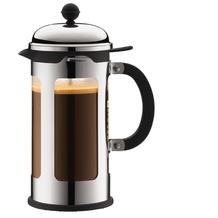 Bodum CHAMBORD Kaffeebereiter, 8 Tassen, 1.0 l mit Bechergefäss aus PC verchromt