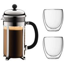 Bodum CHAMBORD SET Kaffeebereiter, 8 Tassen, 1.0 l und 2 doppelwandigen Gläser, 0.35 l glänzend