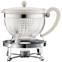 Bodum CHAMBORD SET Teekanne mit Stövchen 1.3 l, mit cremefarbenem Plastikdeckel, Griff, Filter transparent
