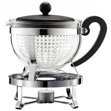 Bodum CHAMBORD SET Teekanne mit Stövchen, 1.3 l, mit schwarzem Plastikdeckel und Griff, Filter transparent