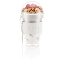 Bodum JOYCUP Joghurtbecher mit Granolabehälter und Löffel, Kunststoff, doppelwandig, 0.25 l cremefarben