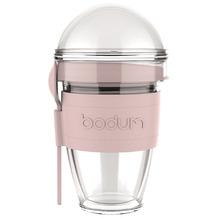 Bodum JOYCUP Joghurtbecher mit Granolabehälter und Löffel, Kunststoff, doppelwandig, 0.3 l pink