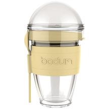 Bodum JOYCUP Joghurtbecher mit Granolabehälter und Löffel, Kunststoff, doppelwandig, 0.3 l gelb