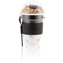 Bodum JOYCUP Joghurtbecher mit Müslihalter. 0,25 l. Doppelwandiger Kunststoff, schwarz