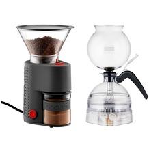 Bodum PEBO Elektrischer vakuum kaffeebereiter, 8 Tassen, 1.0 l + BISTRO elektrische Kaffeemühle schwarz