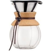 Bodum POUR OVER Doppelwandiger Kaffeebereiter mit Permanentfilter, kurze Tülle, 1.0 l kork