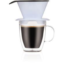 Bodum POUR OVER Einzelportionen Filter-Kaffeebereiter mit doppelwandigem Becher, 0,35l blue moon