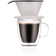 Bodum POUR OVER Einzelportionen Filter-Kaffeebereiter mit doppelwandigem Becher, 0,35l schatten