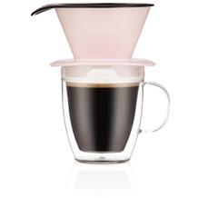 Bodum POUR OVER Einzelportionen Filter-Kaffeebereiter mit doppelwandigem Becher, 0,35l strawberry